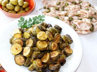 Sauteed zucchini and mortadella