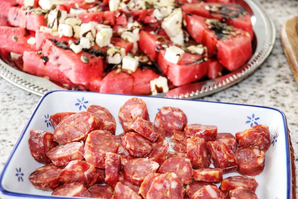 Italian sausage and water melon salad