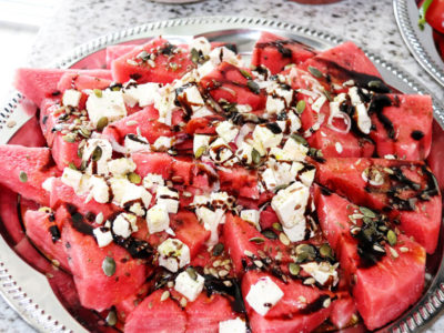 water melon salad with onions and feta cheese