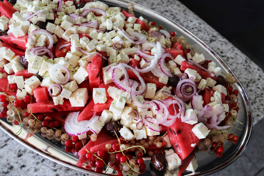 Watermelon salad with onions and feta cheese