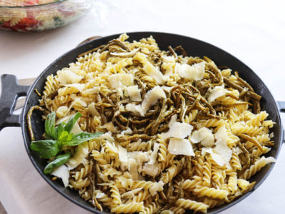 pasta salad with asparagus and Parmesan cheese
