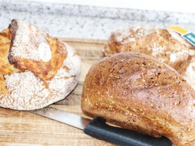 Bread on a wooden cutting board