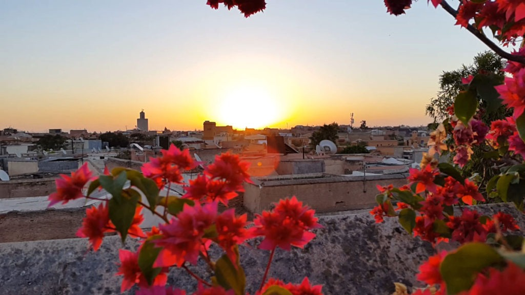 Sunrise on the rooftop of the Riad Enija