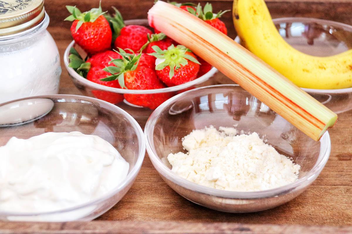 Strawberry Banana Rhubarb Protein Smoothie