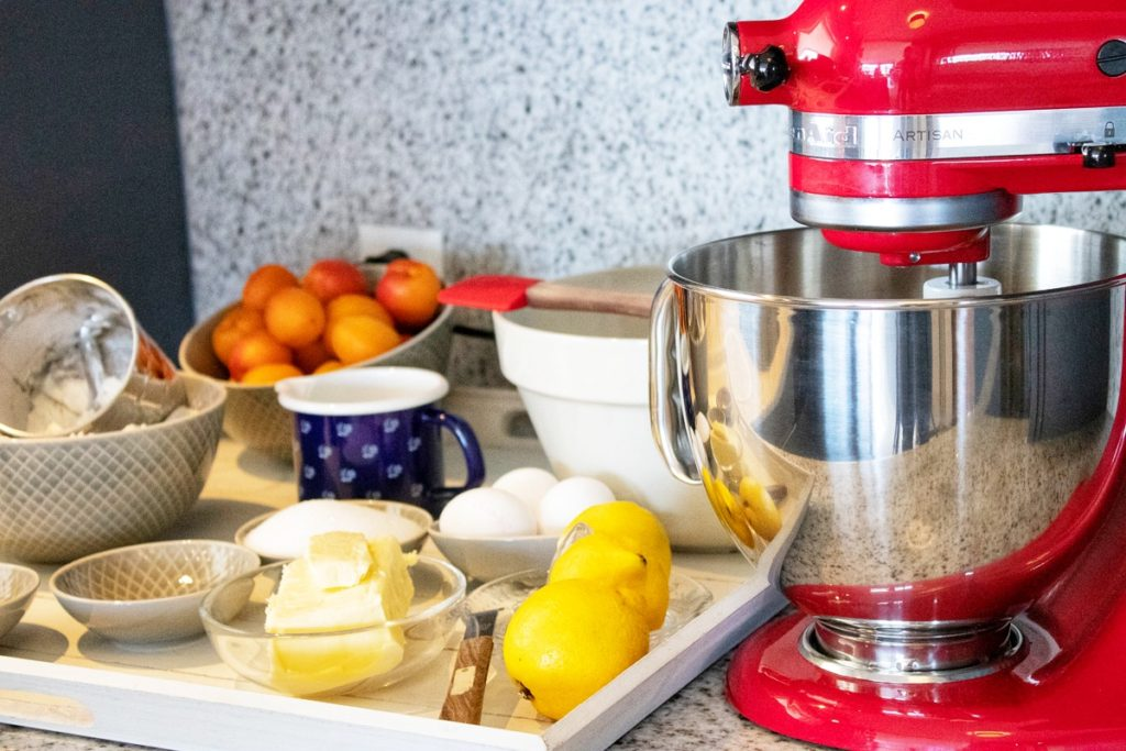 Mise en place for a Apricot Crumble Cake. Made with the Artisan KitchenAid.