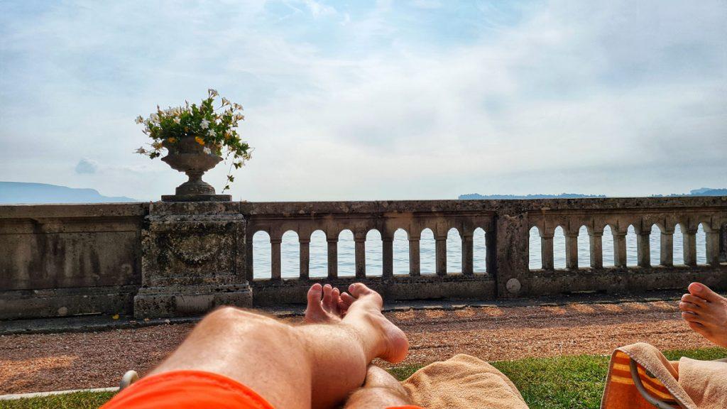 Grand Hotel Fasano, Gardone Riviera, Lago di Garda, me at the beach