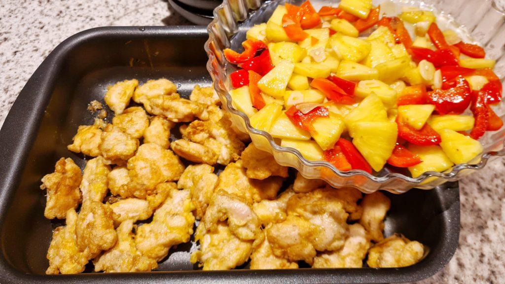 Hühnerfleisch süß-sauer mit Basmatireis