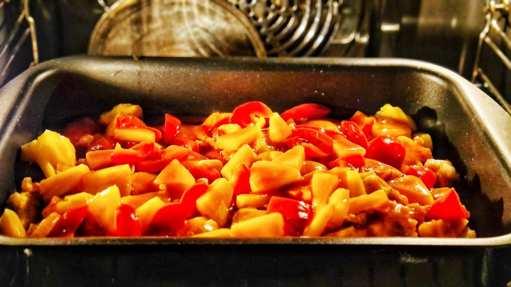 Chicken Sweet and Sour with basmati rice