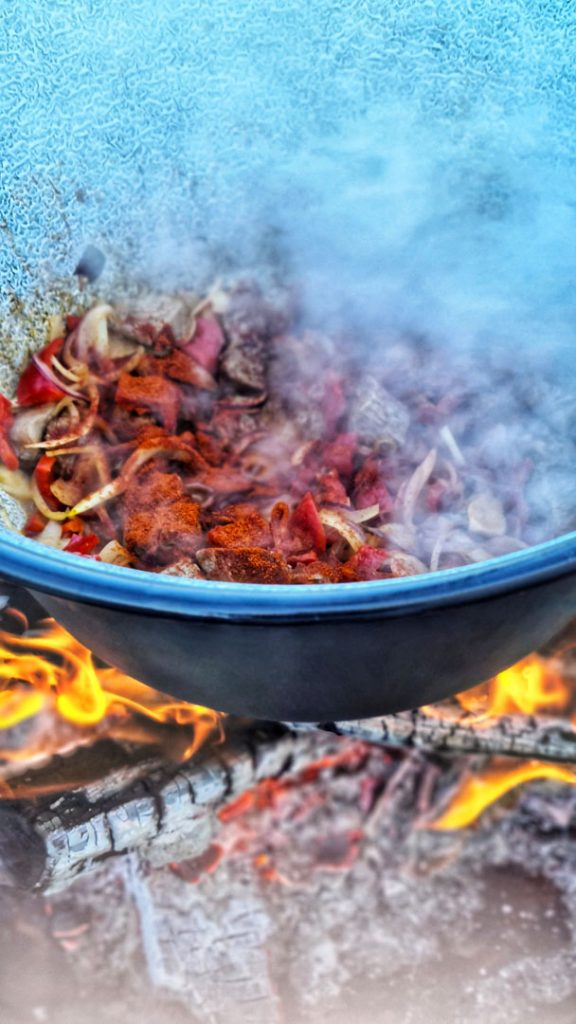 Urban Fire Cooking, Hungarian Goulash served with Serviettenknödel